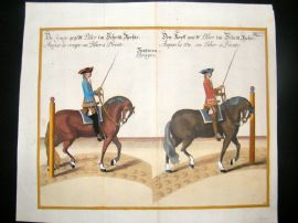 Cavendish Equestrian Dressage 1700 Antique Hand Colored Horse Print 32